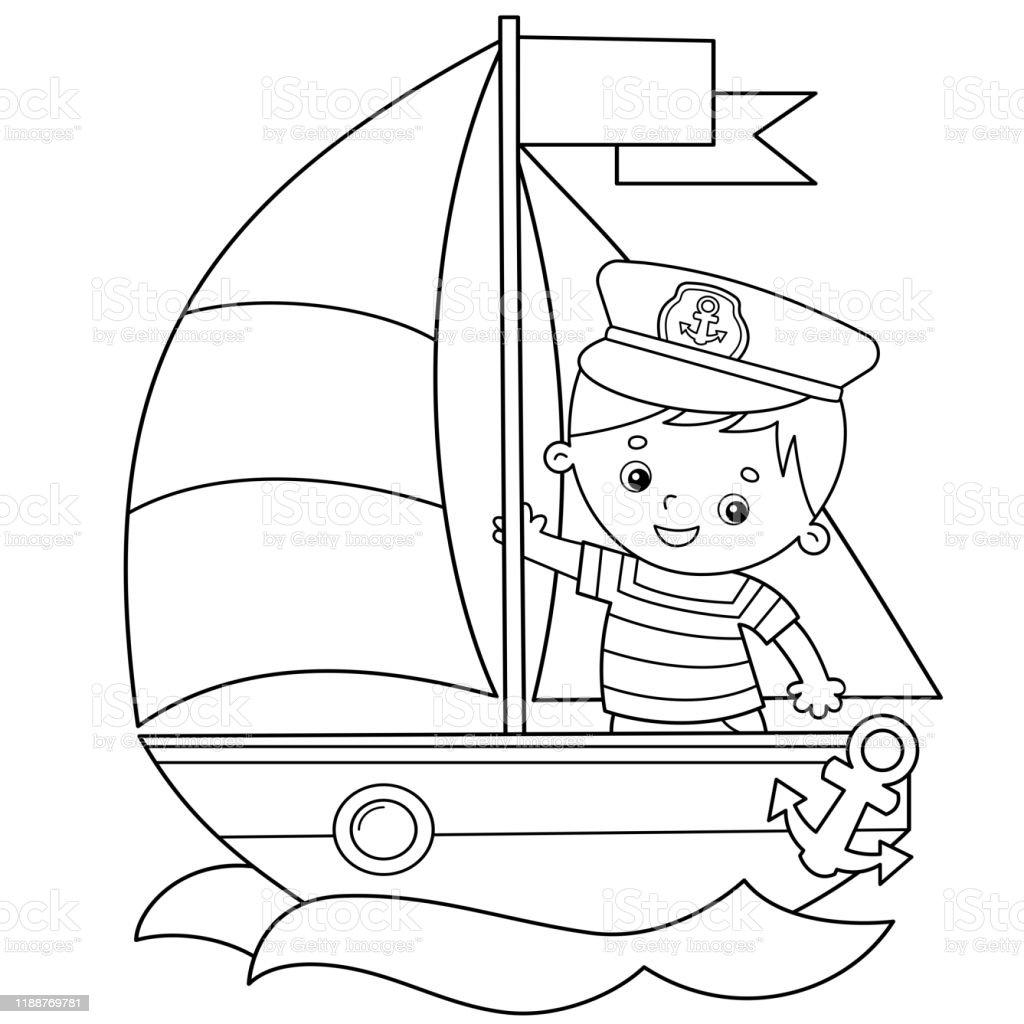 Vetores De Esboco Da Pagina Da Coloracao Do Navio De Vela Dos