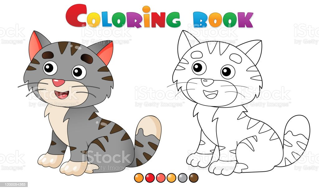 Coloring Page Outline Of Cartoon Striped Cat Pets Coloring Book For Kids Stock Illustration Download Image Now Istock