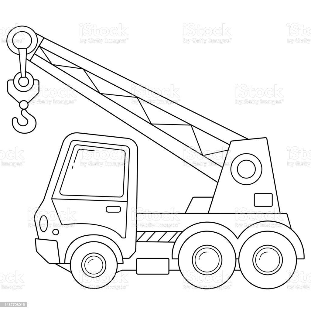 kleurplaat pagina omtrek truck kraan bouw