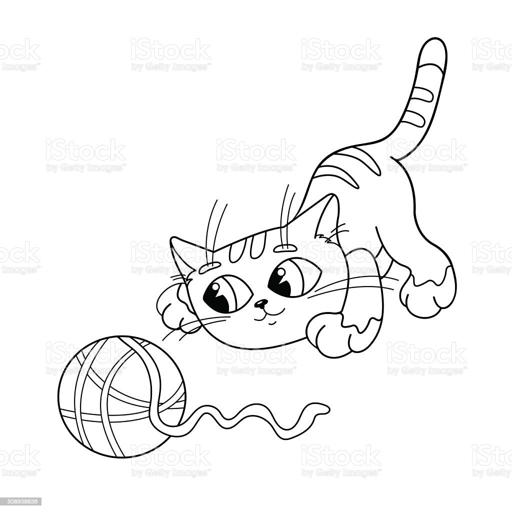 coloring page outline of cat playing with ball of yarn stock