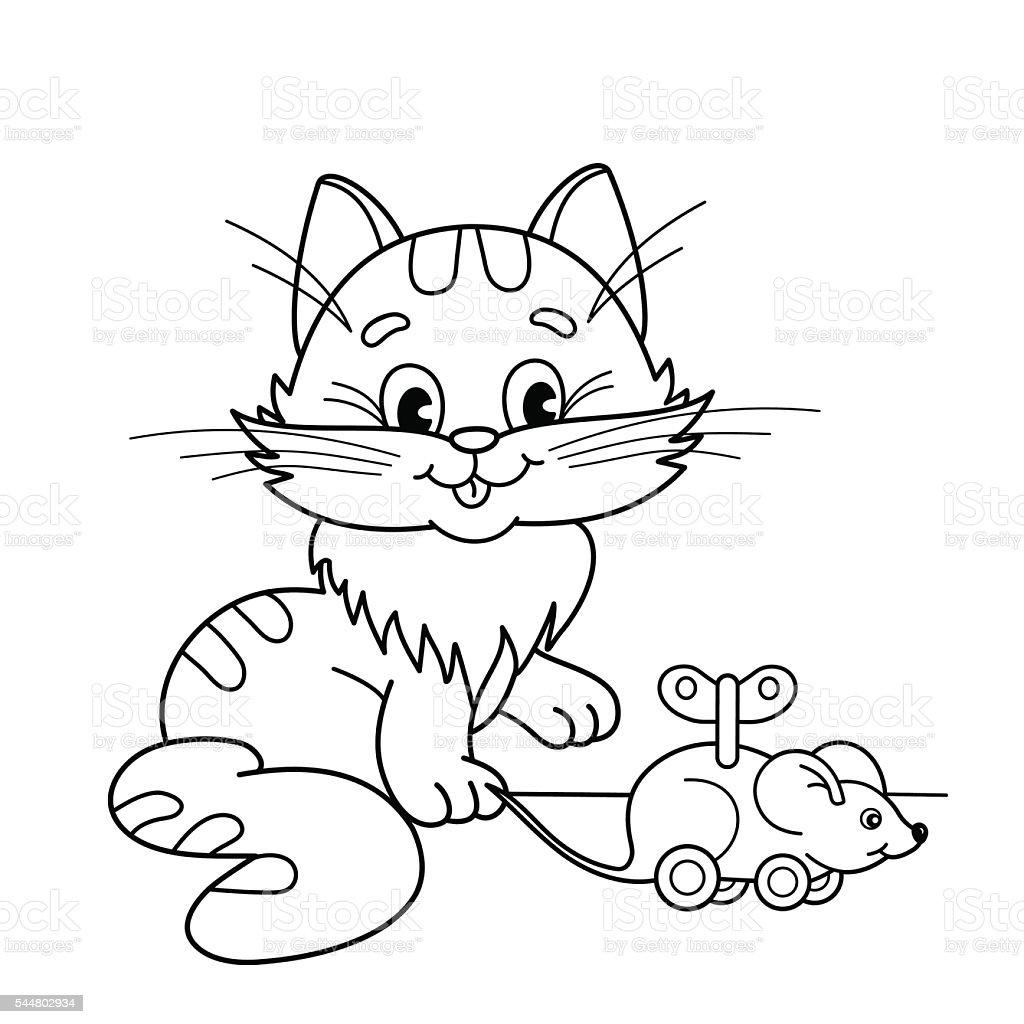 Ilustración de Página Para Colorear Con Contorno De Gato Con Juguete ...