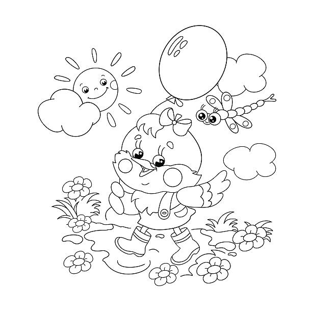 Coloring Page Outline Of Chicken Walking With A Balloon Vector Art Illustration