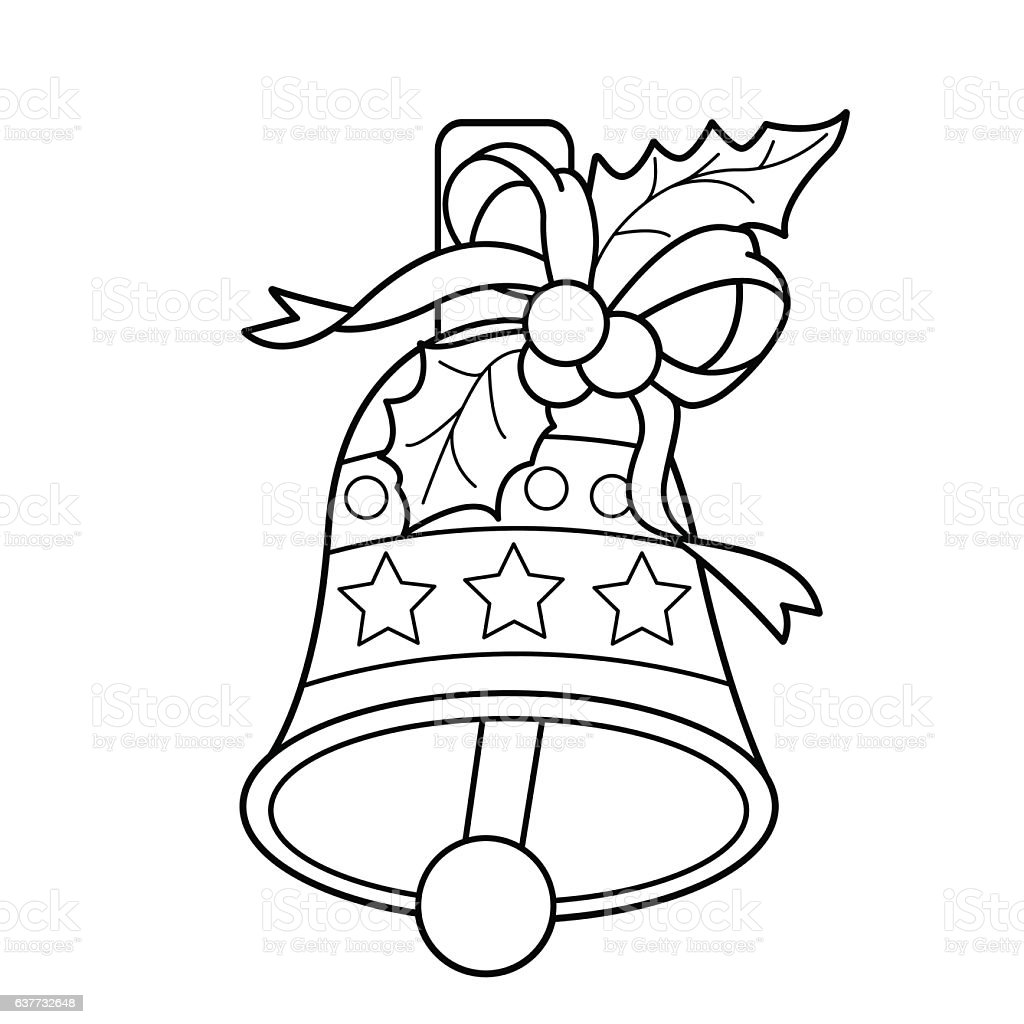Coloring Page Outline Of Christmas Bell Royalty Free Stock