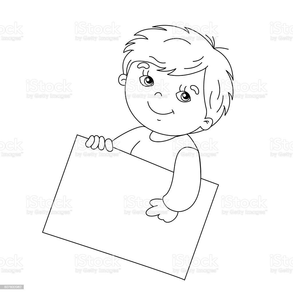 Graziosa sagoma di pagina da colorare ragazzo con un - Bambino samuel pagina da colorare ...