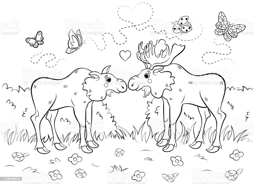Cartoon Moose coloring page   Free Printable Coloring Pages   745x1024