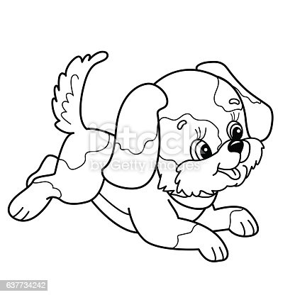 Coloring Page Outline Of Cute Puppy Cartoon Dog Jumping