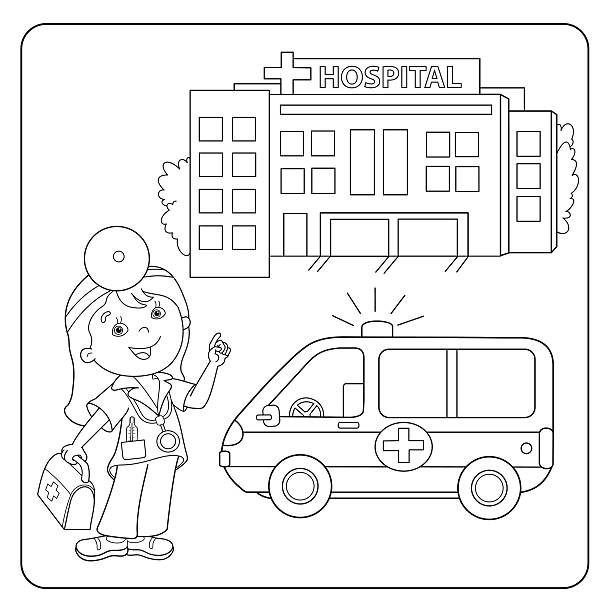 Royalty Free Coloring Nurse For Children Profession