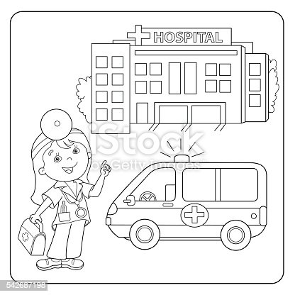 Coloring Page Outline Of Doctor Ambulance Car Hospital