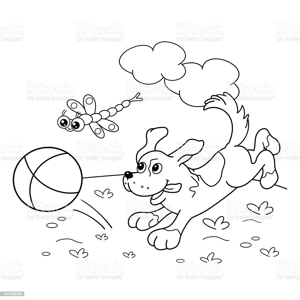 Coloring Page Outline Of Dog With Ball And With Dragonfly