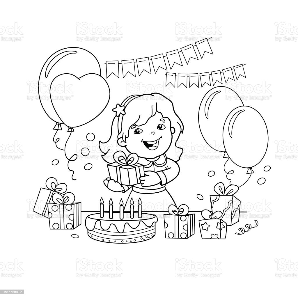 Coloring Page Outline Of Girl With Gift At The Holiday Royalty Free