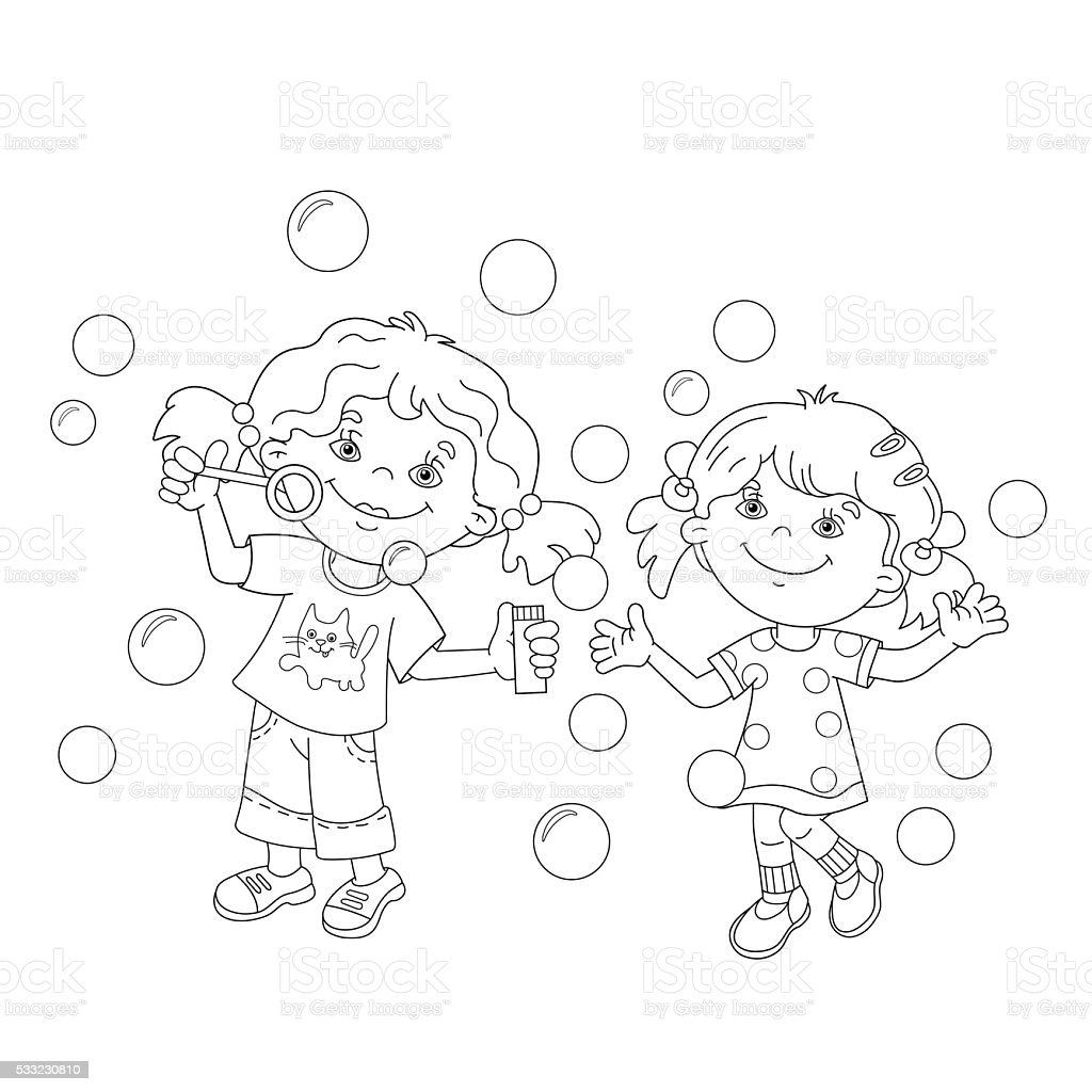 Coloring Page Outline Of Girls Blowing Soap Bubbles Together stock ...