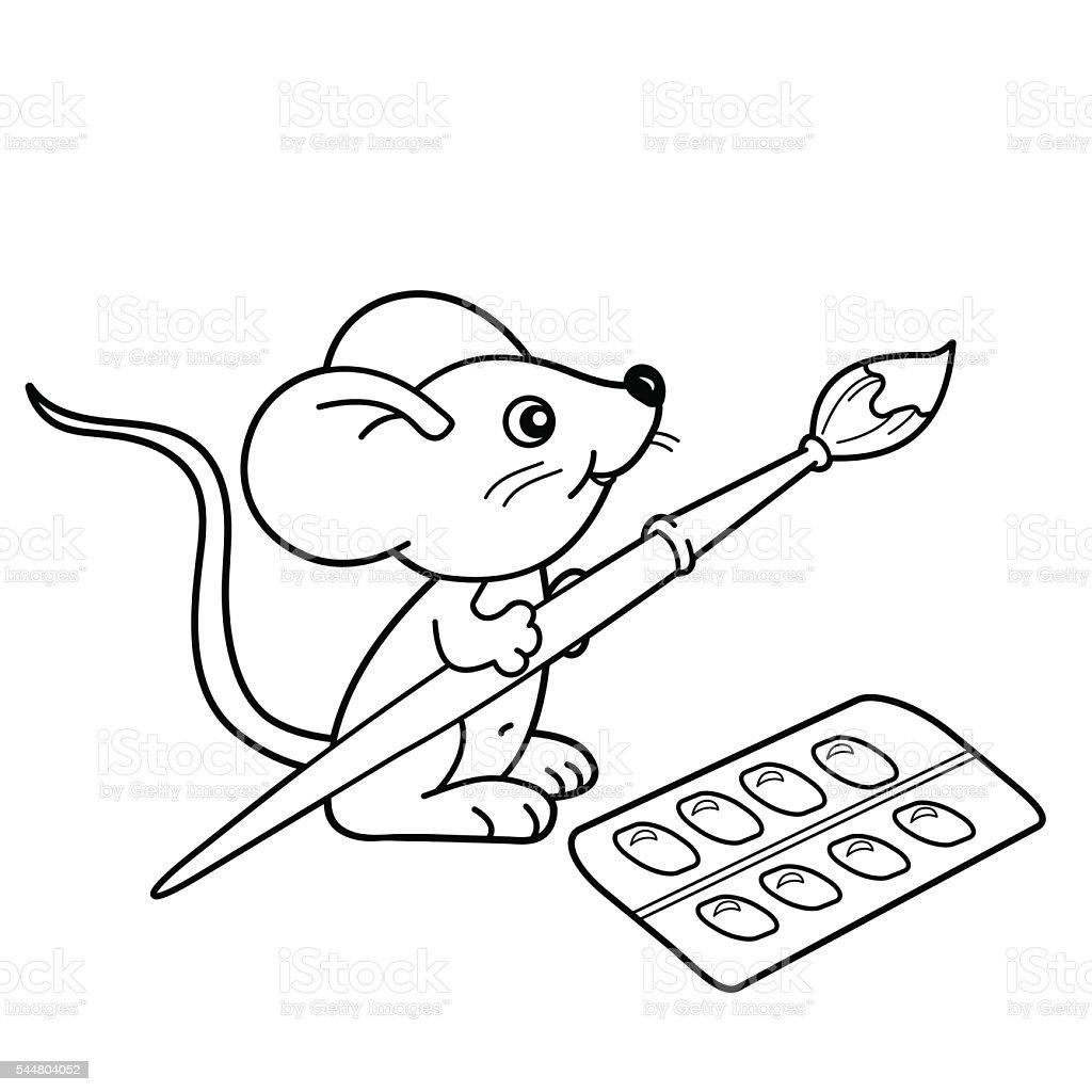 Contour de page de coloriage de petite souris avec pinceau et peintures cliparts vectoriels et - Dessin petite souris ...