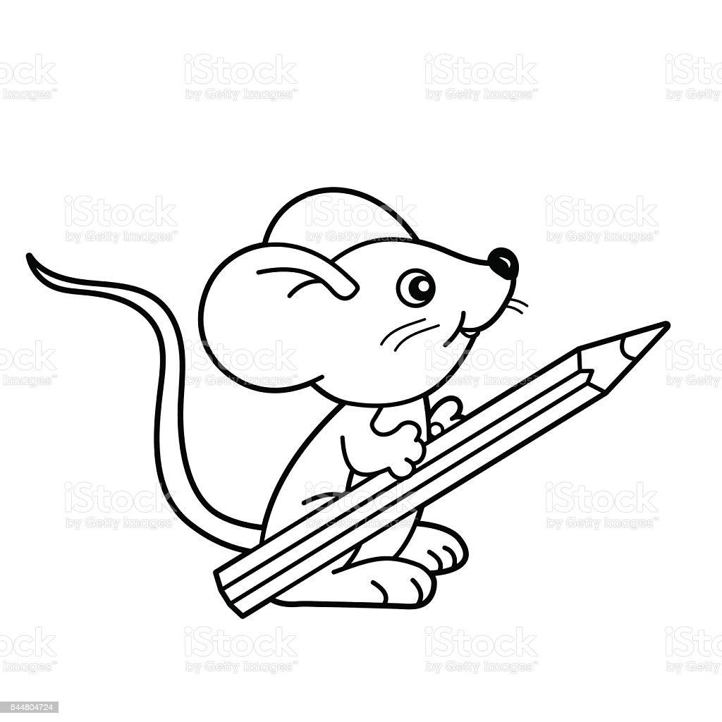塗り絵ページの輪郭小さなマウスと鉛筆です塗り絵の本 - お絵かきの