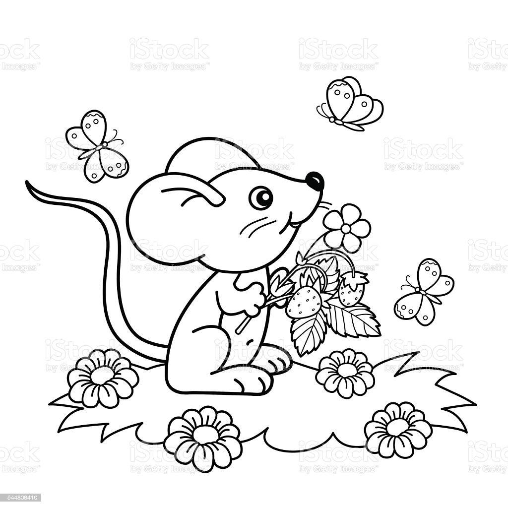 Ilustración De Página Para Colorear Con Contorno De Poco Ratón Con