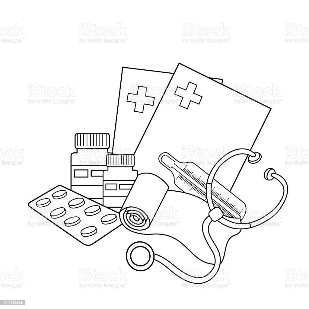 coloring page outline of medical instruments medical logo