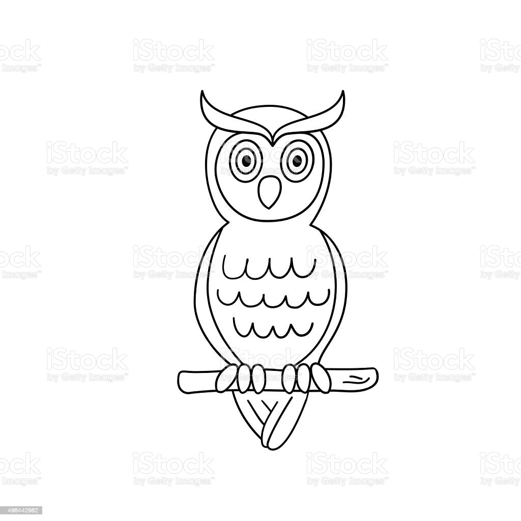 coloring page outline of owl stock vector art 496442982 istock