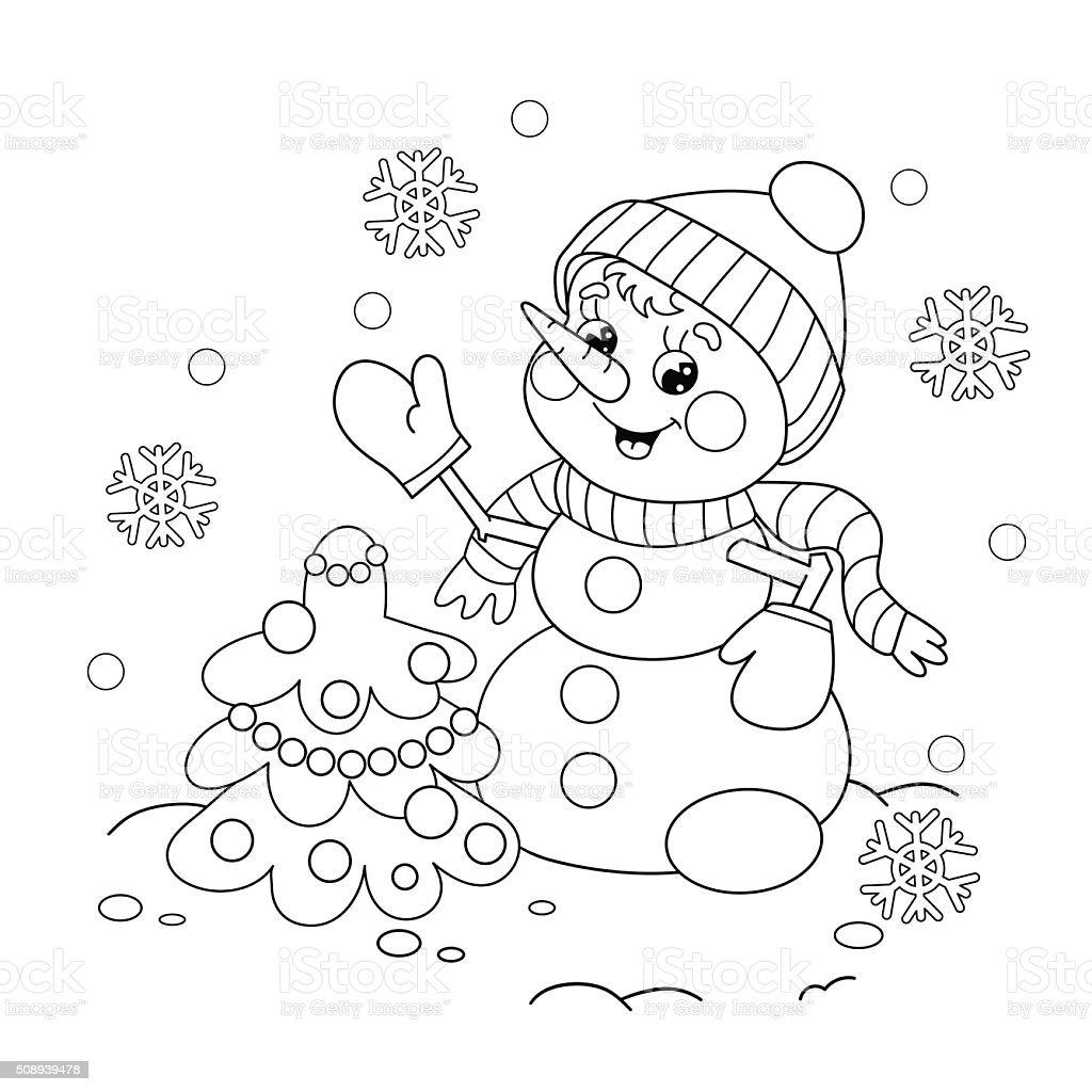 Färbung Seite Kontur Der Schneemann Mit Weihnachtsbaummotiv Stock ...