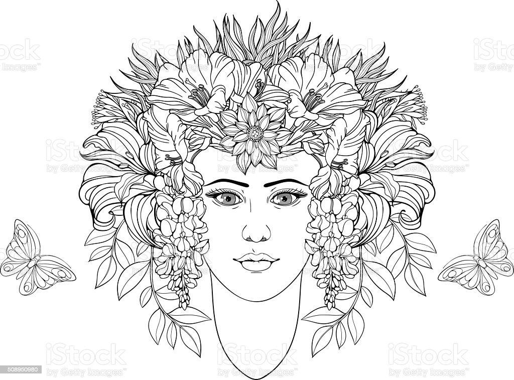 Färbung Seite Porträt Von Mädchen Mit Blumen In Den Haaren Stock ...