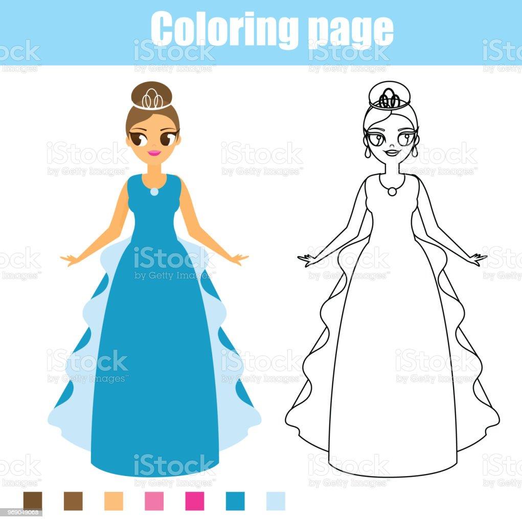 Coloring Page Princess Educational Game Printable Activity