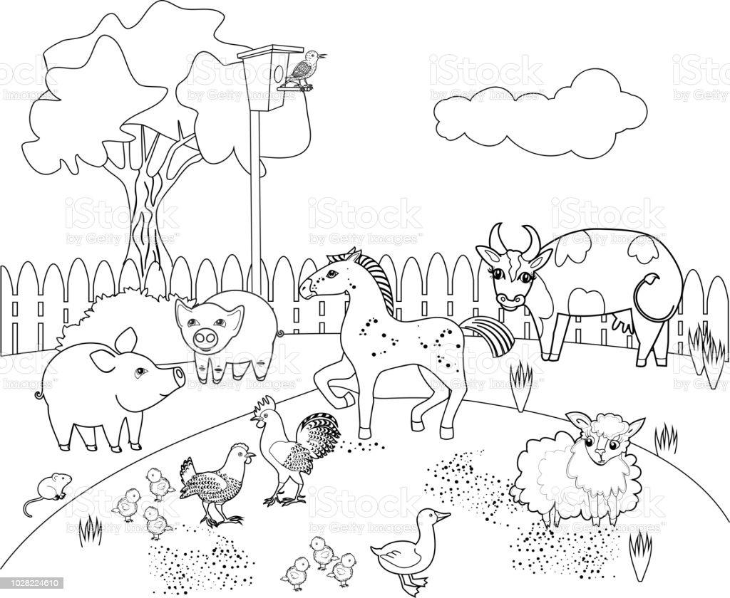 Ilustración De Página Para Colorear Paisaje Rural Con Animales De