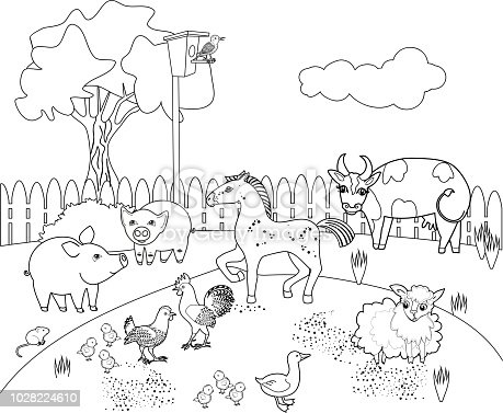 Coloring Page Rural Landscape With Different Farm Animals Stock Vector Art More Images Of Agriculture 1028224610