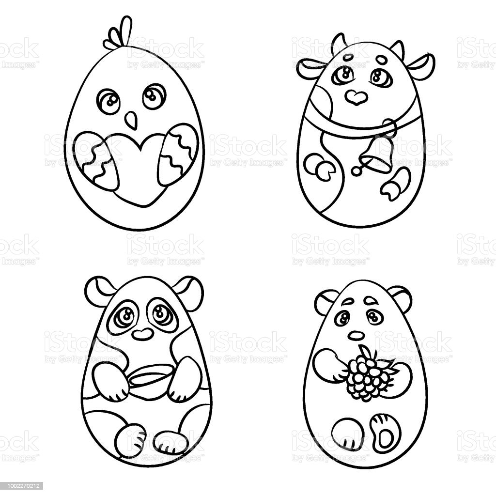 Coloring Page Set Of 4 Cute Animals In A Shape Of Easter Egg
