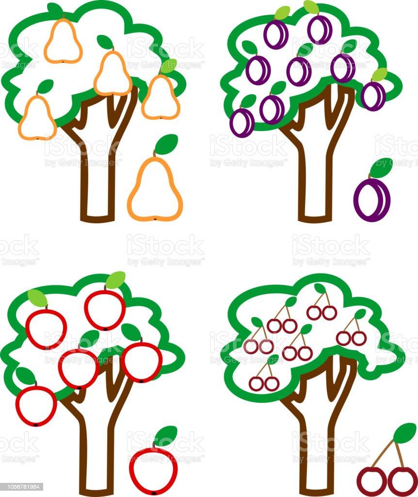 Ilustración De Página Para Colorear Conjunto De árboles