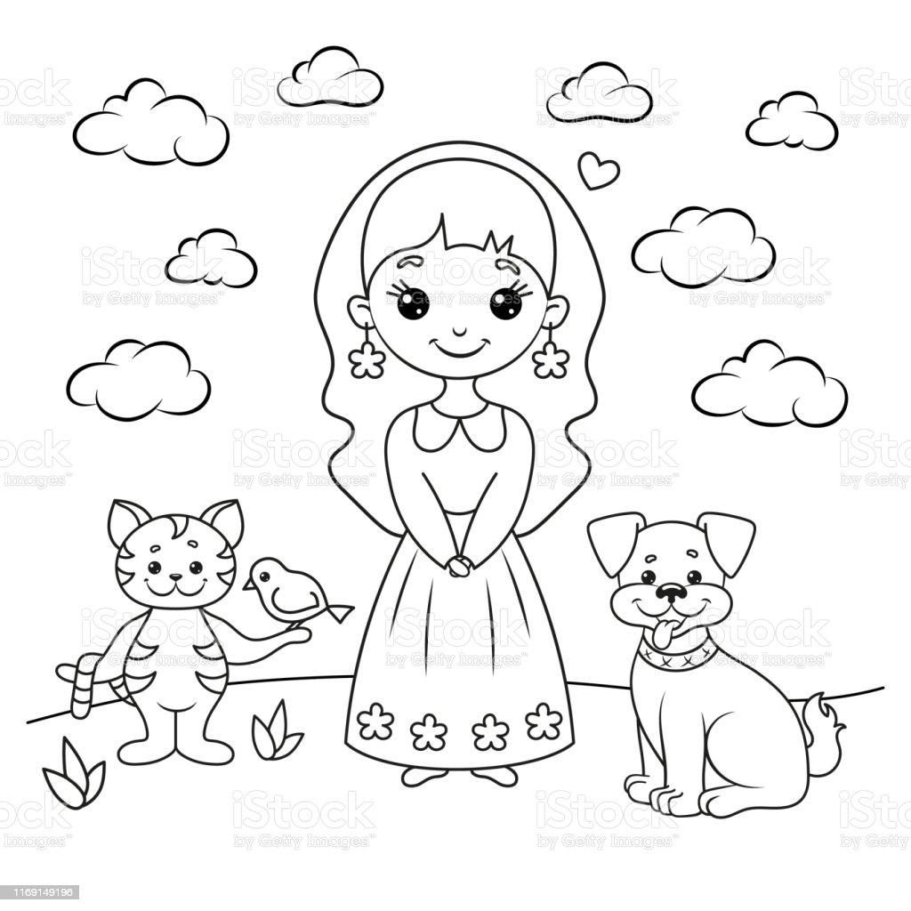 Page De Coloriage Avec Une Fille Un Chat Avec Un Oiseau Et Un Chien  Vecteurs libres de droits et plus d'images vectorielles de Amour