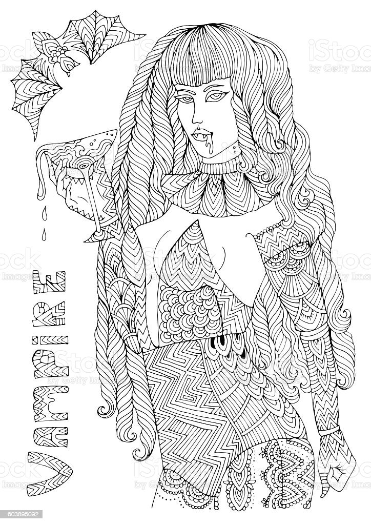 Coloring page sexy vampire Halloween vector art illustration