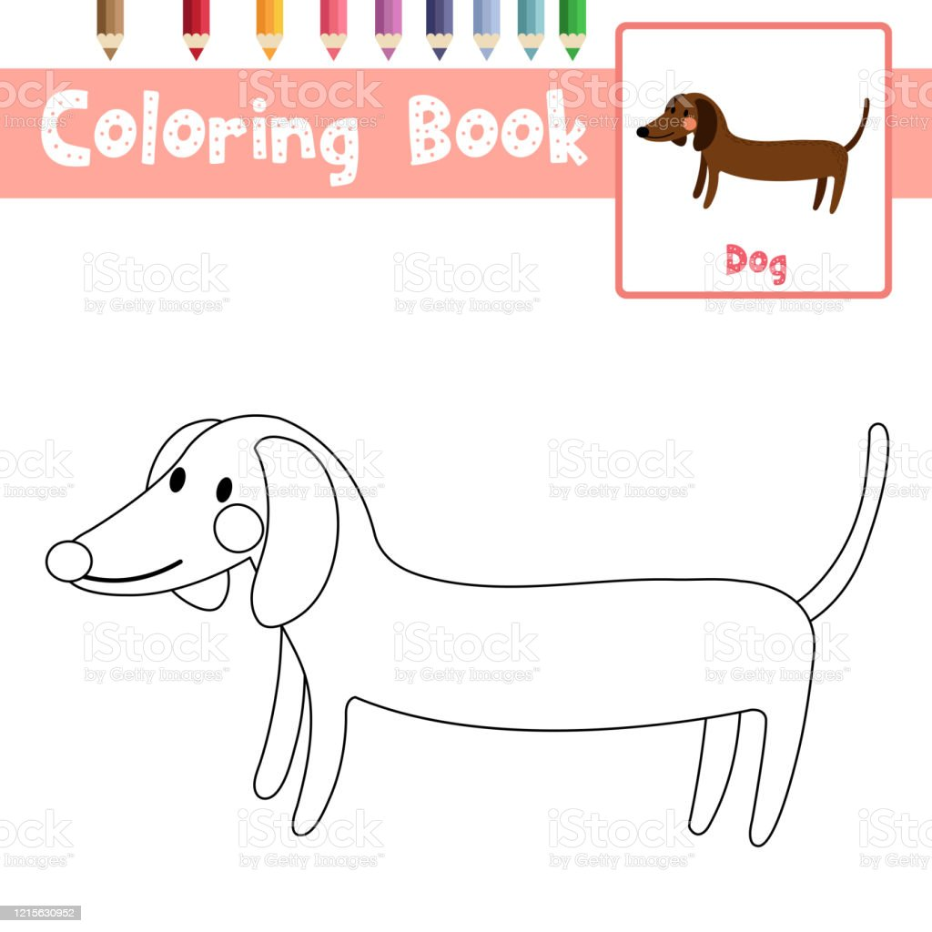 Coloring Page Side View Dachshund Animal Cartoon Character Vector