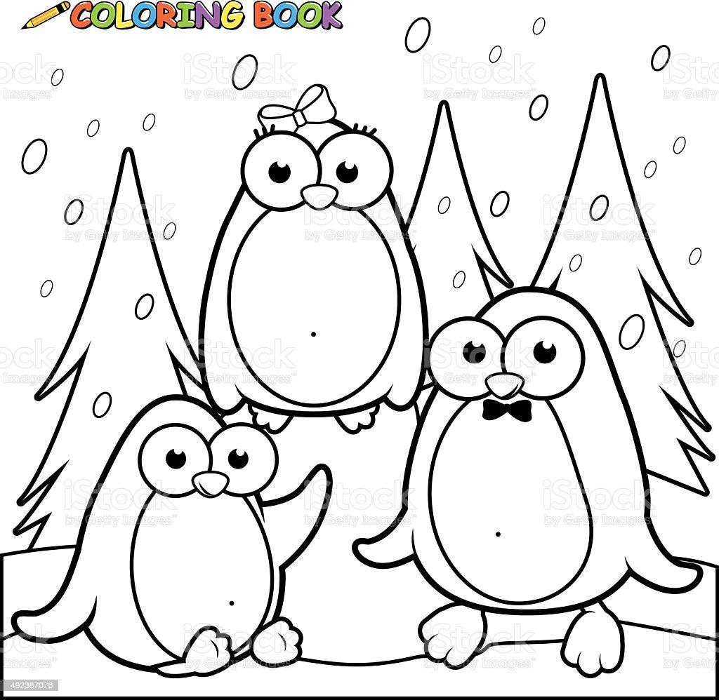pgina para colorear nvea paisaje con penguins sobre hielo illustracion libre de derechos libre de derechos