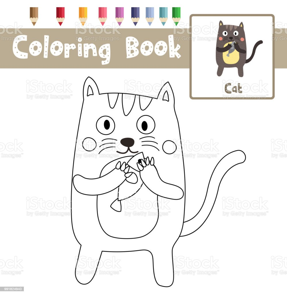 Coloriage Chat Debout.Page De Coloriage Chat Debout Tenant Poisson Animaux Cartoon