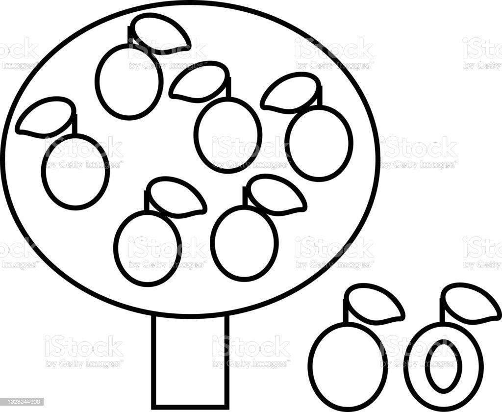 Boyama Sayfası Stilize çizgi Film Erik Ağacı Meyve Düz Tarzı Ile Stok Vektör Sanatı Animasyon Karakternin Daha Fazla Görseli
