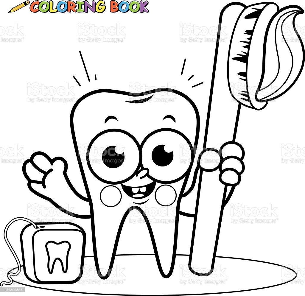 Coloring page tooth cartoon character holding toothbrush - Dessin de dent ...