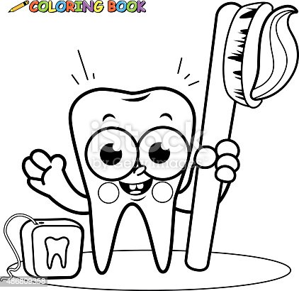 Coloring Page Tooth Cartoon Character Holding Toothbrush
