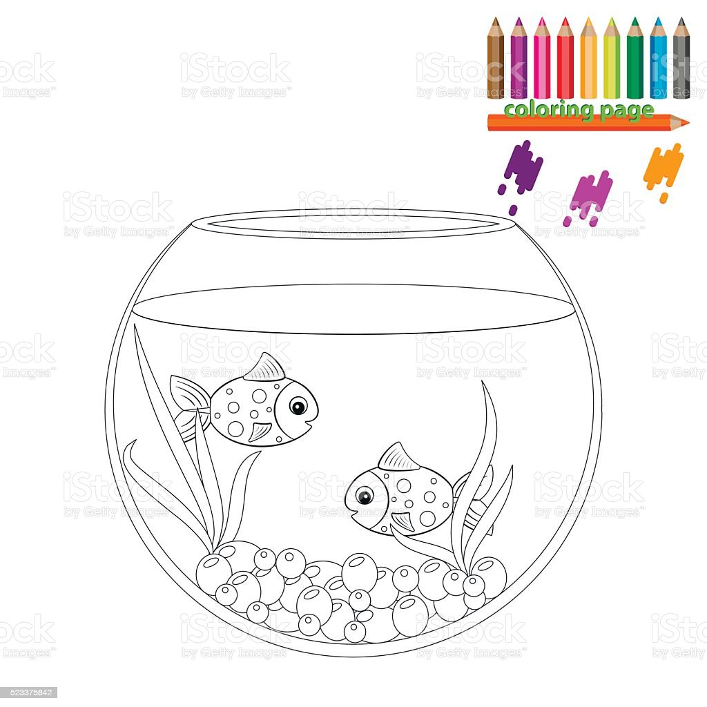 Farbung Seite Zwei Fische In Der Runde Aquarium Stock Vektor Art Und