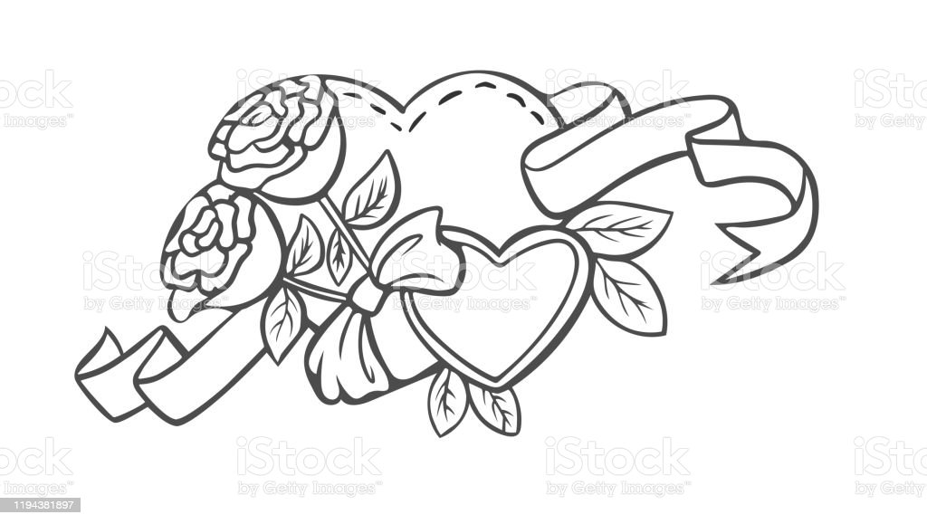 Coloring Page Valentines Day Heart With Flowers Stock Illustration