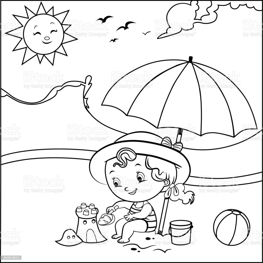 Coloring page (Summer concept) vector art illustration