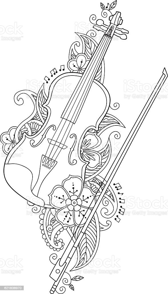 Coloring Page Violin And Bow With Flowers Leafs In Stock Vector Art