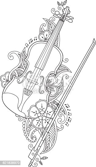 Coloring Page Violin And Bow With Flowers Leafs In Stock