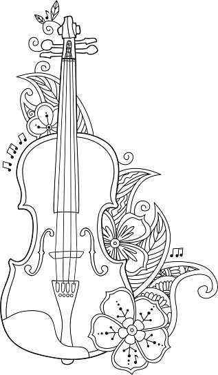 Coloring Page Violin With Flowers And Leafs Stock