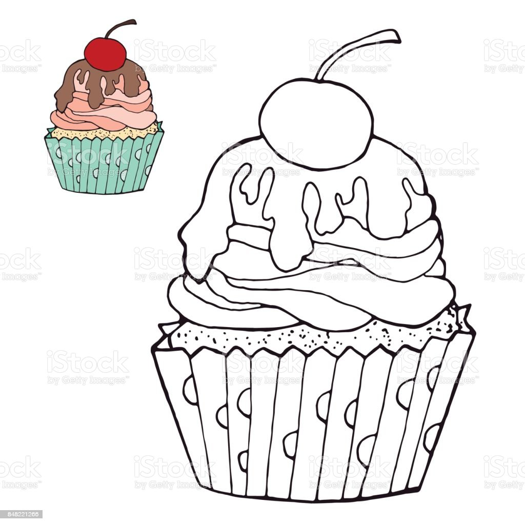 Coloring Page With A Cake Color Version Stock Vector Art More