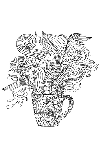 coloring page with a cup and floral decoration