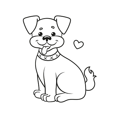 Coloring page with a dog. Vector Illustration.