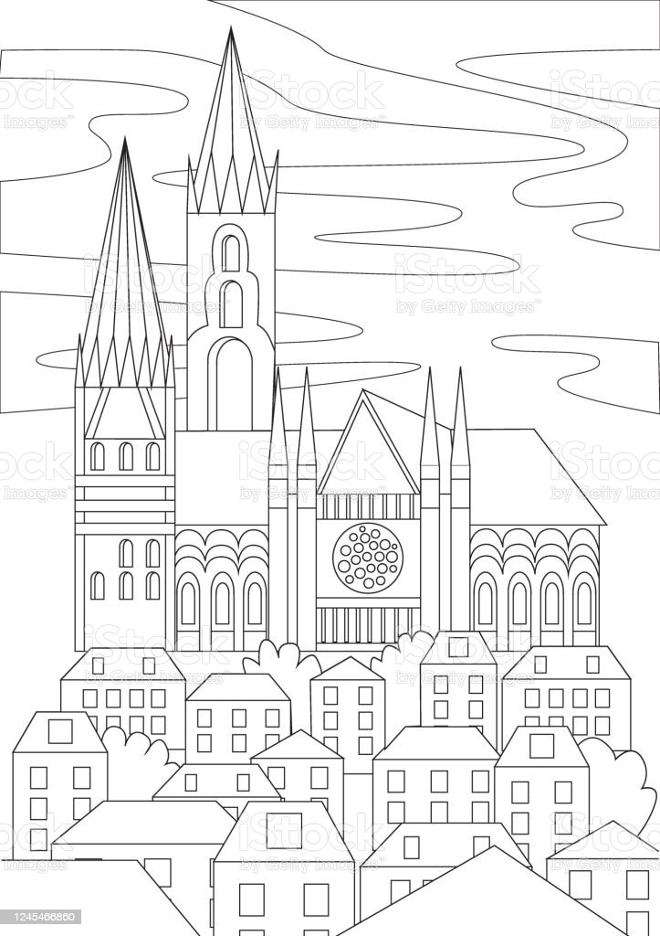 - Coloring Page With A Gothic Church As An Antistress Coloring Book For  Adults Outline Or Colorless Vector Stock Illustration With A Building In  Europe For Printing In A Coloring Book Stock Illustration -