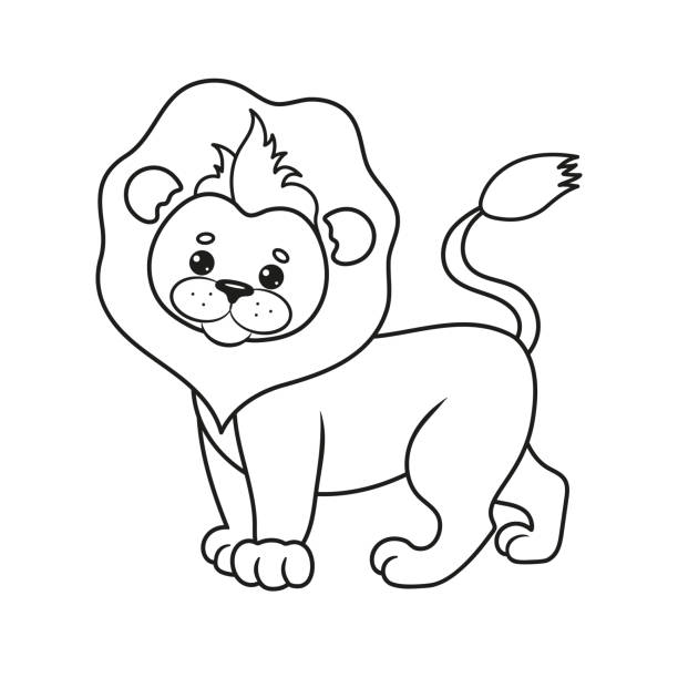 56 Cute Lion In Outline Black And White Illustrations Royalty Free Vector Graphics Clip Art Istock King lion head in royal crown black and white vector outline. https www istockphoto com illustrations cute lion in outline black and white