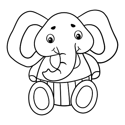 Coloring page with a toy elephant