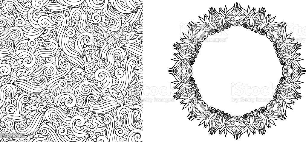 Página Para Colorear Con Elementos Florales Abstractos Patrón ...