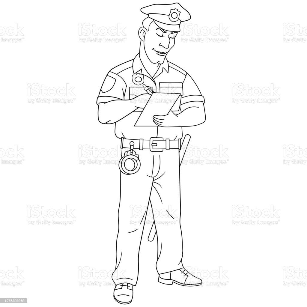 Vetores De Pagina Para Colorir Com Adulto Policial E Mais Imagens