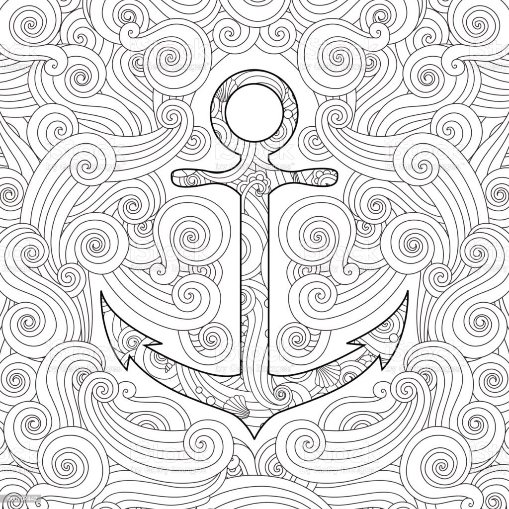 coloring page with anchor in waves doodle style square composition royalty free - Anchor Coloring Page